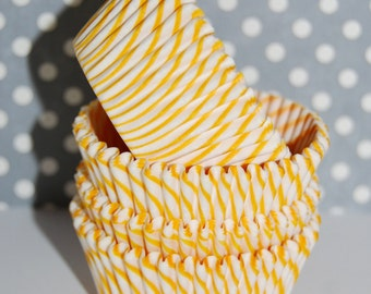 50 count - Golden Yellow stripe cupcake liners  baking cups  muffin cups  cupcake standard size  grease proof