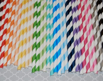 "100 vintage barber stripe drinking straws You Pick Colors - with FREE Blank Flag Template - see also ""Personalized"" Flags"