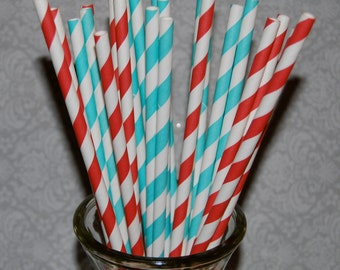 "50  long soda bottle  Aqua and Red mixed striped paper drinking straws - with FREE DIY Flag Template.  See also - ""custom"" flags option."
