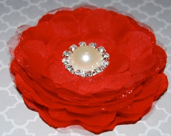 fabric flower  -  3 1/2'' camellia  flower wedding silk flowers with pearl and diamond rhinestone center   with hair clip