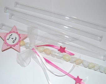 Clear plastic magic wand tubes with caps - Qty 10 - use for storage - party favors shower favors birthday shower - quick and easy gifts