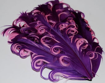 Curly Feather Pad -  Two Tone  Purple on Pink  FP134  - (1 piece)