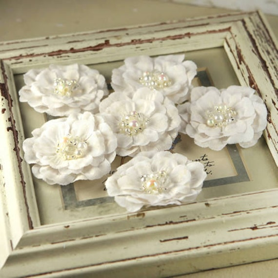 Ceylon Collection - White Wedding  552893- Elegant, linen-look fabric flowers with jewel box centers in a mix of bead styles and pearls.