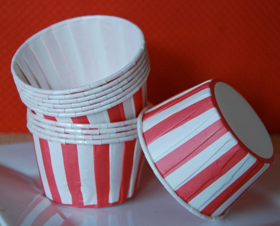 Red Stripe cupcake  muffin cups  grease proof liners candy  cup nut snack treat  Ice cream  dessert portion cups -  24 count