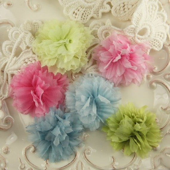 De Soie Collection - Suffolk 546656 Lycra Spandex sheer flowers with pearl centers  - mixed colors as shown in photo - 6 count