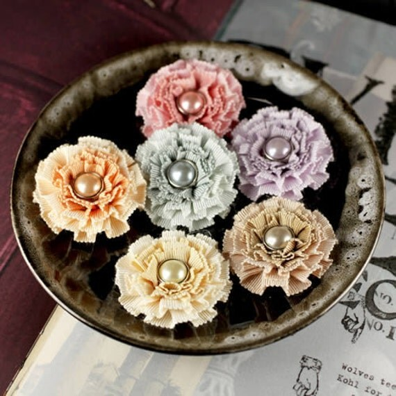 Fabric Flowers - Cartier Collection - Driftwood 553357- 6 ct Grossgrain ruffled ribbon flowers with pearl centers -  mixed colors