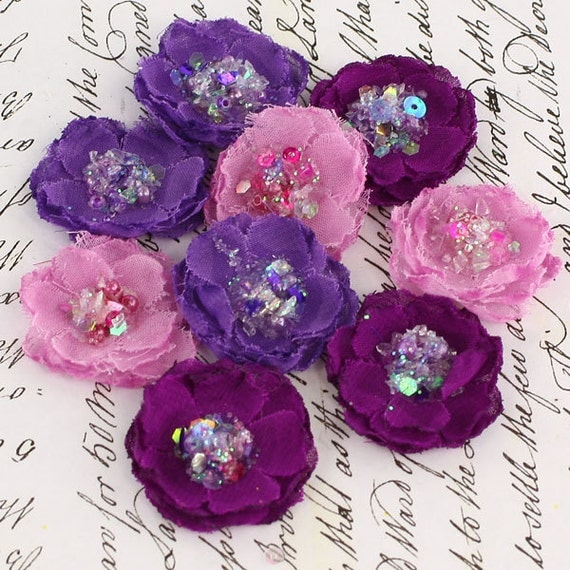 """small 1"""" fabric flowers -Tasha Collection - purple 556938- fabric  with sparkle of sequin & beads  in the centers -  lavender, plum"""