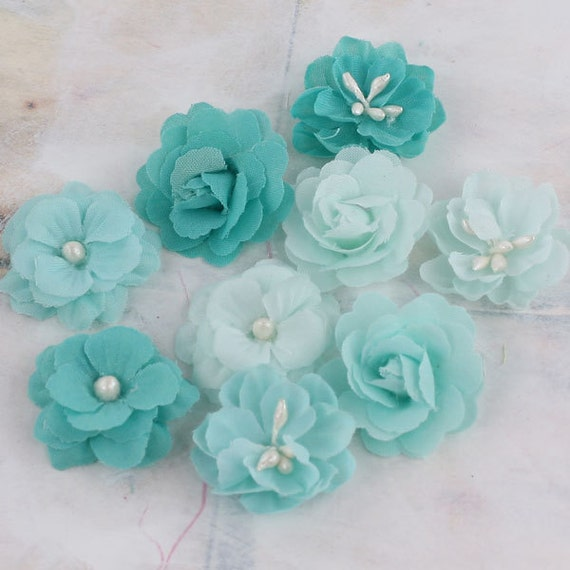 """small 1"""" fabric flowers Lady Godivas Collection Raspberry Ice 557096  tiny fabric flowers in varying styles shades of aqua, tiffany blue"""