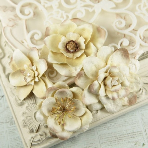 Paper Flowers embellishment vintage - Eminence Collection - Mulberry Paper Flowers  546205