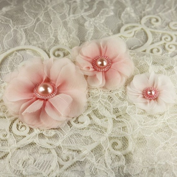 Millinery Collection - Berries 547318 -  Sheer Fabric Flowers with beaded pearl centers - sheer shades of pink