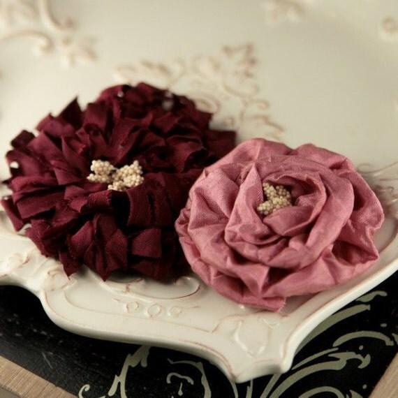 Dechire Ariel 548674  Silk Fabric Flowers -  2 piece - Dusty Pink and Burgundy