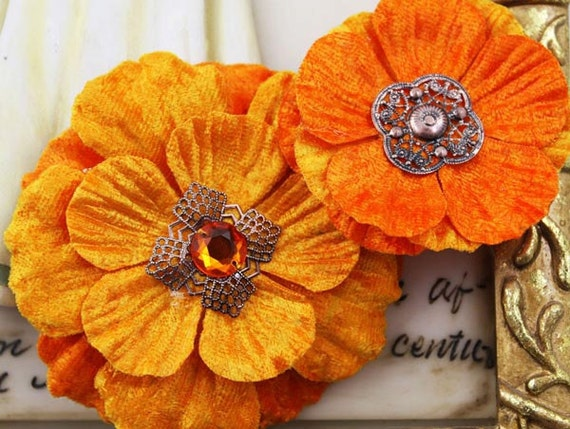 Fabric Flowers -Medicci  Collection - Citrus 532949 - layered crushed velvet fabric flowers with embellished gemstone centers