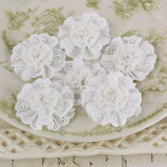 Prima fabric flowers - Manette Collection -  White 557249 - cotton eyelet lace fabric flowers with pearl centers