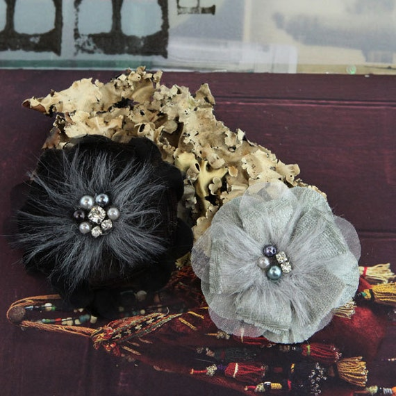 Fabric Flowers - Cherise - Cinder 558178 -  layered sheer silk fabric flowers with beautiful jeweled centers with a  romantic touch