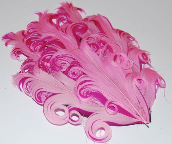 Curly Feather Pad - Two Tone Pink on shocking hot pink  FP105 - (1piece)