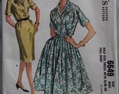 1960s McCall's 6649 Half Size Vintage Sewing Pattern Front Buttoned Dress with Slim or Full Skirt Bust 39