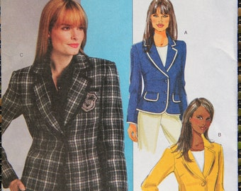 Butterick B5288 Misses Fitted Jacket Sewing Pattern Sizes 14-20 UNCUT