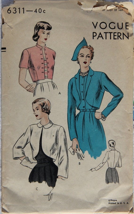 1940s Vintage Vogue 6311 Sewing Pattern Bolero with Three Sleeve Variations Bust 34