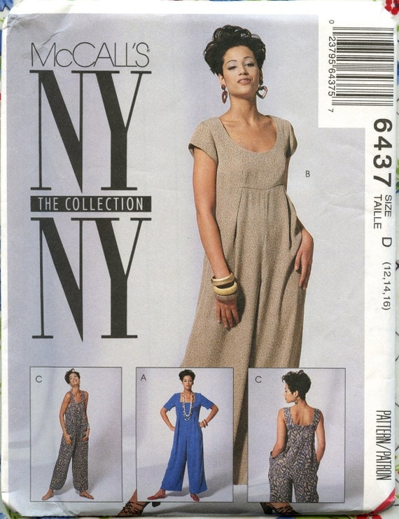McCalls 6437 Sewing Pattern Misses High Waisted Jumpsuit Round or Square Neckline Bust 34-38 UC FF
