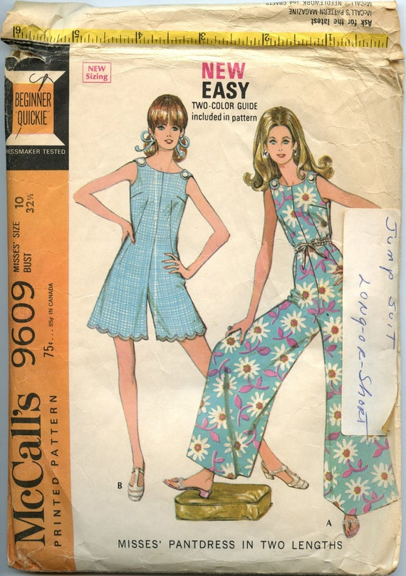1960s McCalls 9609 Vintage Sewing Pattern Misses Pantdress in Two Lengths Bust 32 1/2