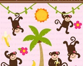 INSTANT DOWNLOAD - Girls Monkeying Around Clip Art Set - Personal and Commercial Use
