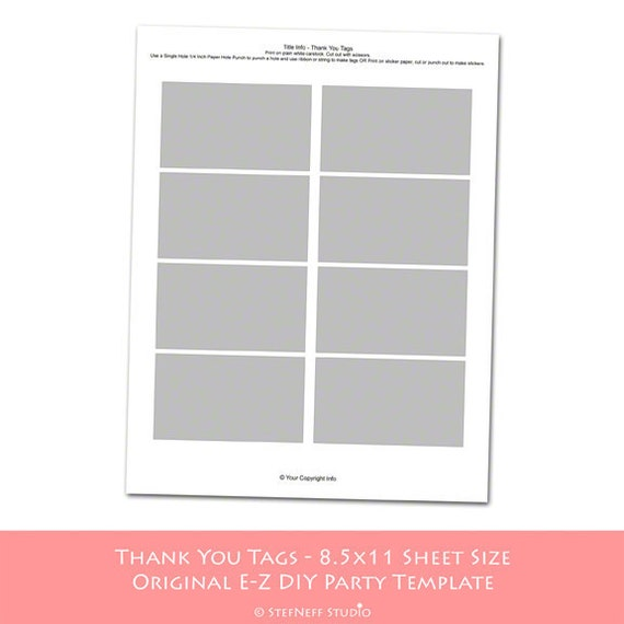 INSTANT DOWNLOAD - Make Your Own Party Printables with an e-z DIY Party Template - Thank You Tags
