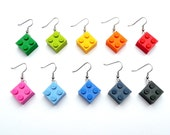 Upcycling Earrings - play with me - Choose your favorite color - eyecatcher, dangle, rainbow, iconic, recycling, colorful, children, jewelry