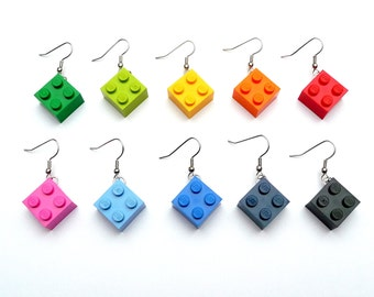 Upcycling Earrings - play with me - Earrings for girls - Choose your favorite color - eyecatcher, dangle, rainbow, recycling, colorful, kids