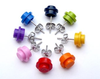 UPCYCLING EARSTUDS - Rainbow Upcycling Jewelry - Choose your favorite color - Geekery - Colorful Jewellery for children kids girls
