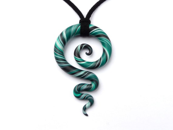 Meaningful Necklace - KORU & swirl -  Emerald, Black and White