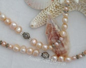 Simple and Dainty Freshwater Pearl Necklace and Earring Set