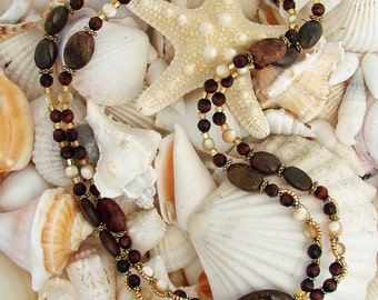 Double Strand of Tourmaline, Red Tiger Eye and Shell Necklace and Earring Set with a Pietersite Pendant
