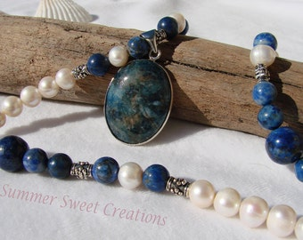 Pyrite in Lapis Lazuli and White Akoya Pearl Pendant Set