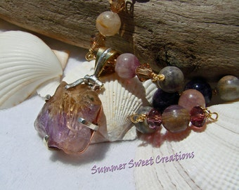Gorgeous Fluorite, Amethyst, Crystal Necklace and Earrings Set