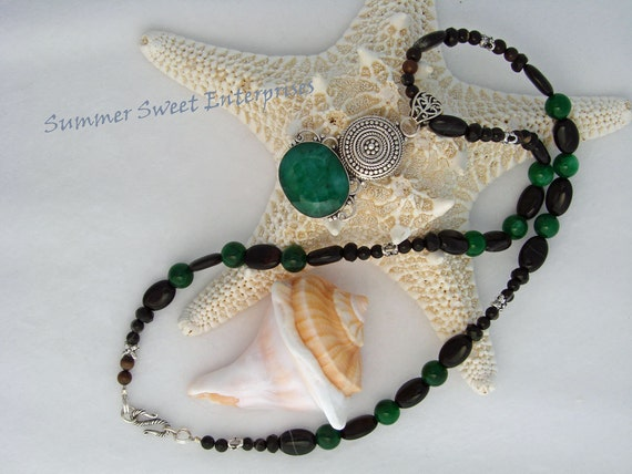 Beaded Emerald and Onyx Necklace and Earring Set with Emerald Pendant