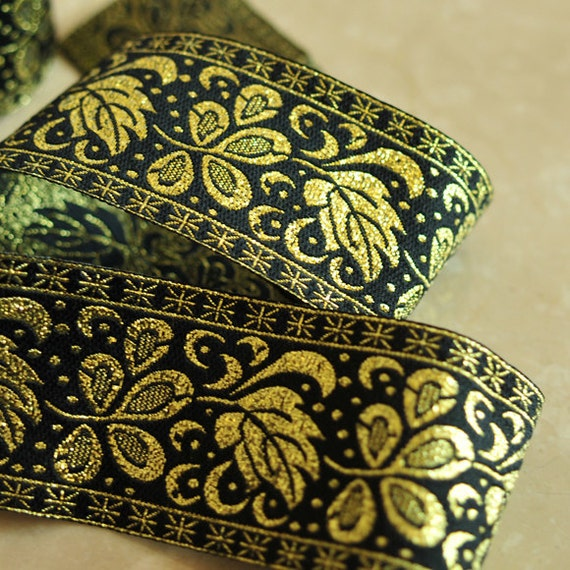 Jacquard Ribbon Trim Gold Floral Desing- 1.5 yards
