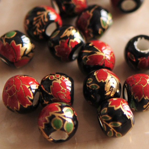 Ceramic Beads Hand Painted Japanese Inspired Floral Black 10pcs.