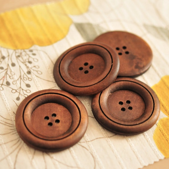 Wooden Buttons Large Round Simple Flat Single Line- (2 pieces)
