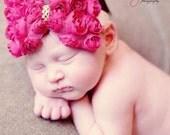 Hot Pink VALENTINES DAY Mini Rosette Bow Infant/Toddler Girls Headband