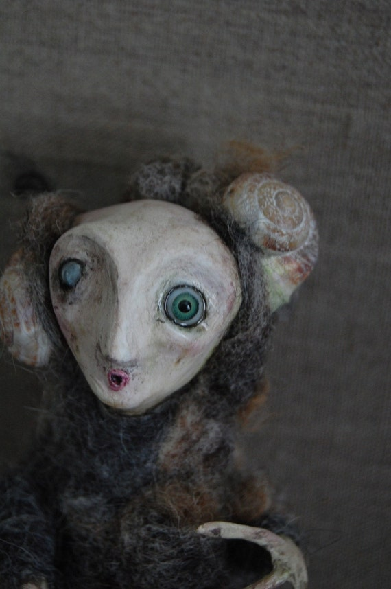 The Woo - OOAK paper clay and needlefelt art doll ADE