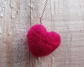 Valentine's Day - Bright Pink Wool Heart Necklace - Needle Felted - Made to Order