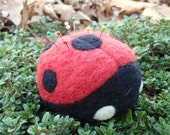 Ladybug Pin Cushion- Needle Felted Wool - MADE TO ORDER