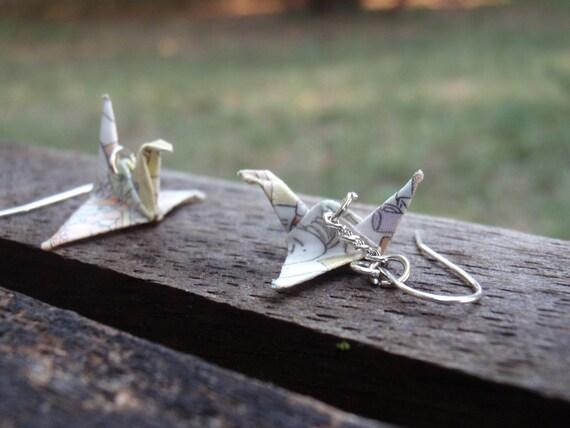 Recycled Comics Origami Paper Crane Dangle Earrings