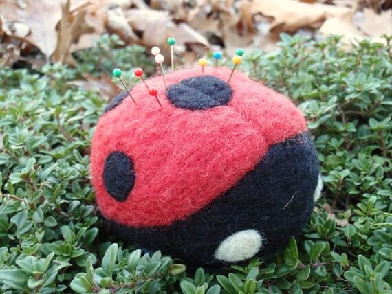 Ladybug Pin Cushion- Needle Felted Wool - MADE TO ORDER