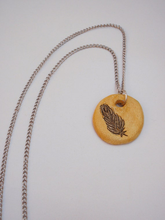 Yellow and Gray Feather Ceramic Pendant on Silver Chain - Watercolor Series
