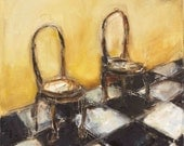 FOR Cindy only - Cafe Chairs-Original Oil on Canvas ( 20x24)