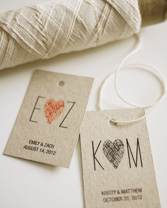 Initials Monogram Personalized Wedding Favor Tags By 3EggsDesign