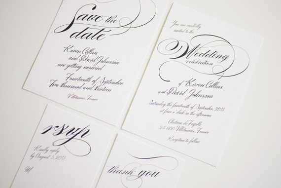 Calligraphy wedding invitation printable template by