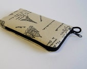 iPhone  or Any Yor Phone or iPod Zipper Case Made to Order - A Walk in Paris