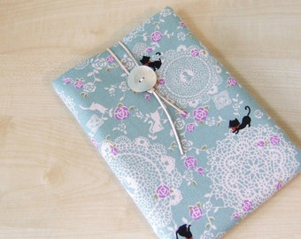 Kitty Cat in Blue iPad Kindle 1 2 3 XD Any Your TABLET Made to Order sleeve cover